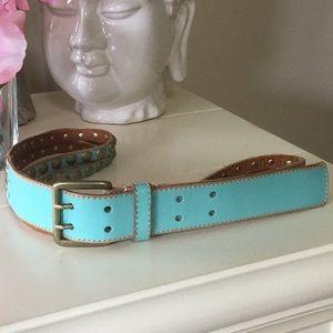 Anthropologie linea pelle blue grommet belt size L